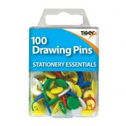 Tiger Stationery 100 Drawing Pins (Coloured)